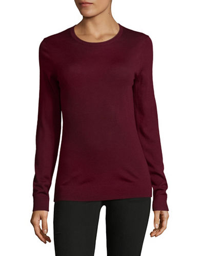 Lord & Taylor Basic Crew Neck Merino Sweater-DEEP MERLOT-Large