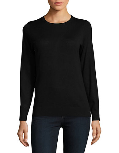 Lord & Taylor Basic Crew Neck Merino Sweater-BLACK-Small