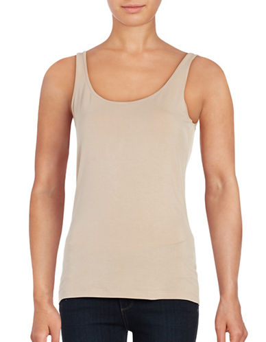 Lord & Taylor Classic Iconic Fit Scoop Neck Tank-CLASSIC TAN-Large