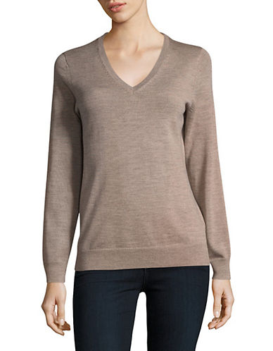 Lord & Taylor V-Neck Shirt-CASHEW HEATHER-X-Large