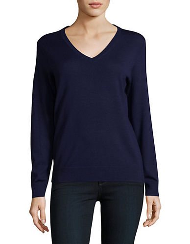 Lord & Taylor V-Neck Shirt-EVENING BLUE-X-Small