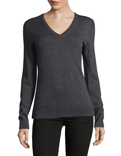 Lord & Taylor V-Neck Shirt-GRAPHITE HEATHER-Small