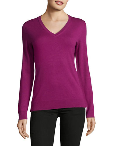 Lord & Taylor V-Neck Shirt-CRUSHED VIOLET-Large