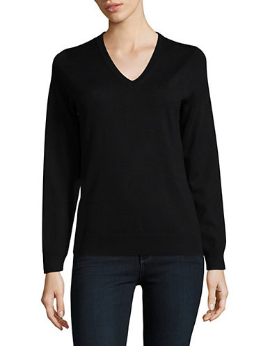 Lord & Taylor V-Neck Shirt-BLACK-X-Small
