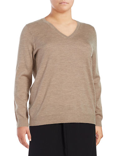 Lord & Taylor Plus Basic V-Neck Sweater-CASHEW HEATHER-3X