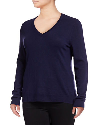 Lord & Taylor Plus Basic V-Neck Sweater-EVENING BLUE-3X
