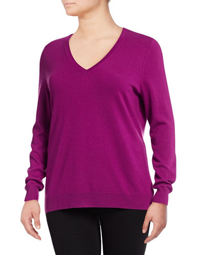 Lord & Taylor Plus Basic V-Neck Sweater-CRUSHED VIOLET-0X