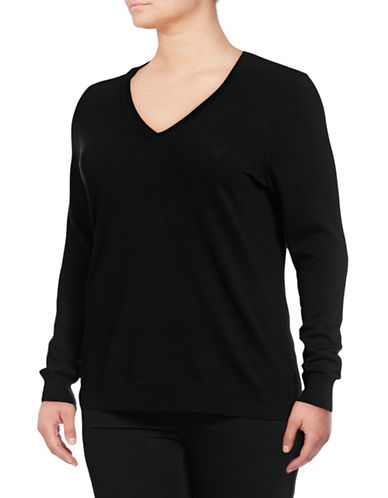 Lord & Taylor Plus Basic V-Neck Sweater-BLACK-1X