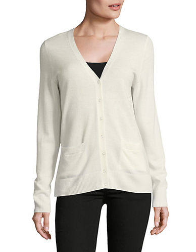 Lord & Taylor Merino Wool V-Neck Cardigan-IVORY-X-Large