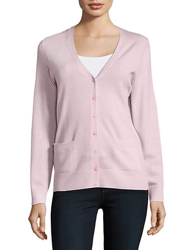 Lord & Taylor Merino Wool V-Neck Cardigan-SWEET PEA-Large