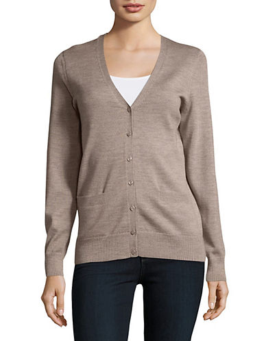 Lord & Taylor Merino Wool V-Neck Cardigan-CASHEW HEATHER-Large