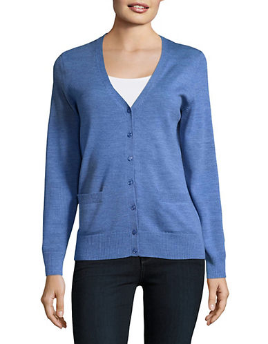 Lord & Taylor Merino Wool V-Neck Cardigan-TOPAZ HEATHER-X-Small