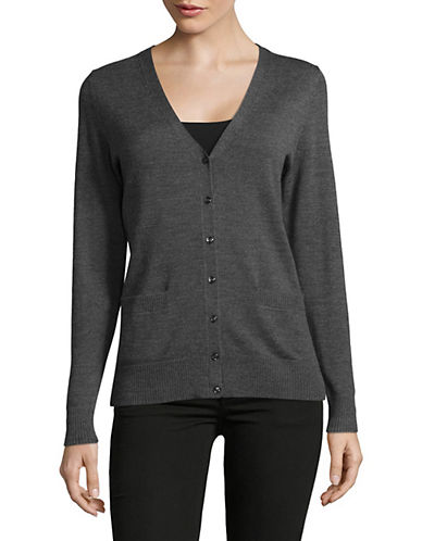 Lord & Taylor Merino Wool V-Neck Cardigan-GRAPHITE HEATHER-Small