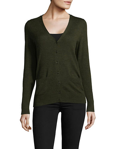 Lord & Taylor Merino Wool V-Neck Cardigan-MOSS HEATHER-X-Large