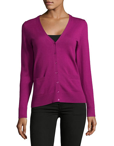 Lord & Taylor Merino Wool V-Neck Cardigan-CRUSHED VIOLET-Large