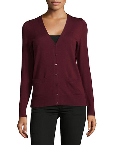 Lord & Taylor Merino Wool V-Neck Cardigan-DEEP MERLOT-Small