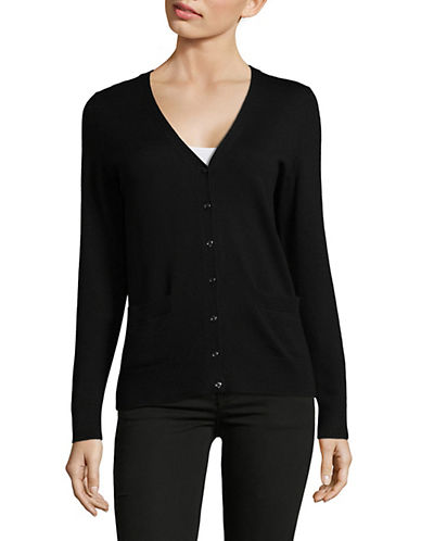 Lord & Taylor Plus Merino Wool V-Neck Cardigan-BLACK-2X