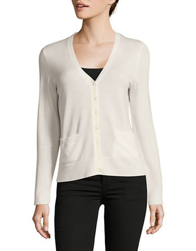 Lord & Taylor Petite Merino Wool V-Neck Cardigan-IVORY-Petite X-Small