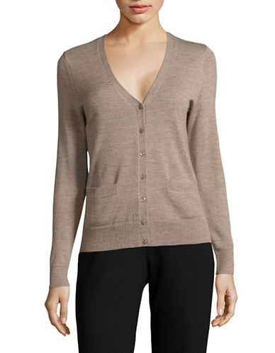 Lord & Taylor Petite Merino Wool V-Neck Cardigan-CASHEW HEATHER-Petite X-Large