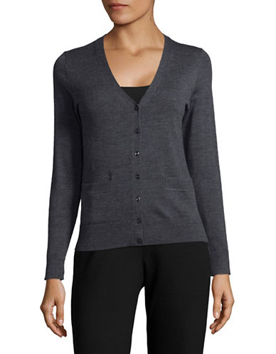 Lord & Taylor Petite Merino Wool V-Neck Cardigan-GRAPHITE HEATHER-Petite Medium
