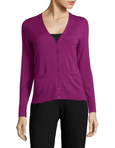 Lord & Taylor Petite Merino Wool V-Neck Cardigan-CRUSHED VIOLET-Petite Medium