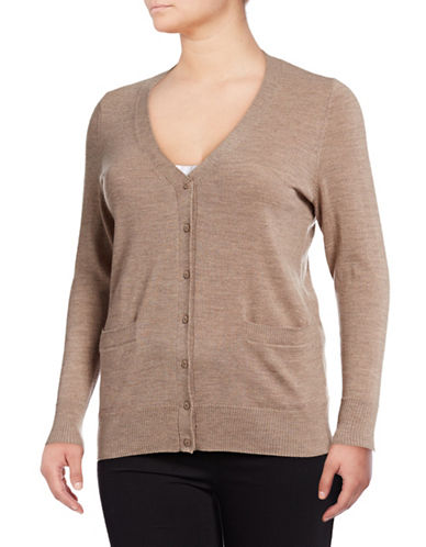 Lord & Taylor Plus Merino Wool V-Neck Cardigan-CASHEW HEATHER-3X
