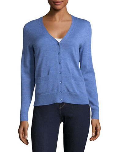 Lord & Taylor Plus Merino Wool V-Neck Cardigan-TOPAZ HEATHER-1X