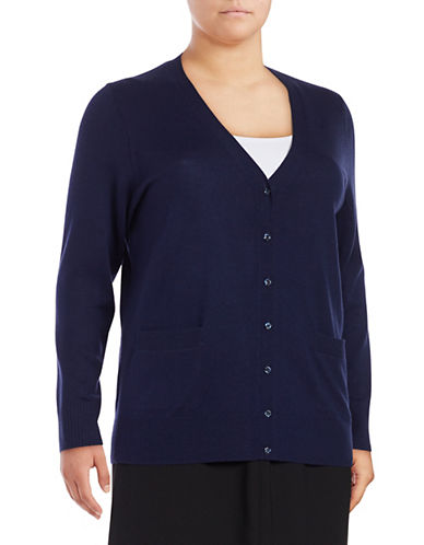 Lord & Taylor Plus Merino Wool V-Neck Cardigan-EVENING BLUE-1X