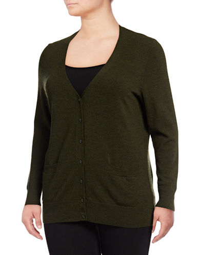 Lord & Taylor Plus Merino Wool V-Neck Cardigan-MOSS HEATHER-1X