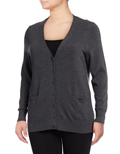 Lord & Taylor Plus Merino Wool V-Neck Cardigan-GRAPHITE HEATHER-1X