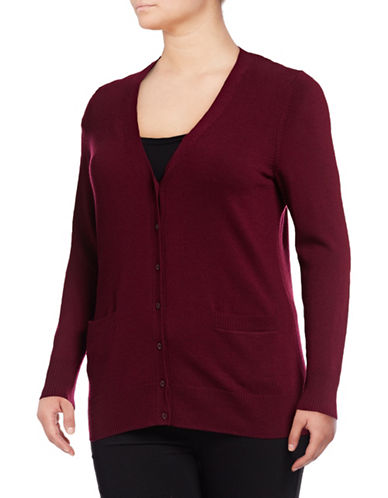 Lord & Taylor Plus Merino Wool V-Neck Cardigan-DEEP MERLOT-2X