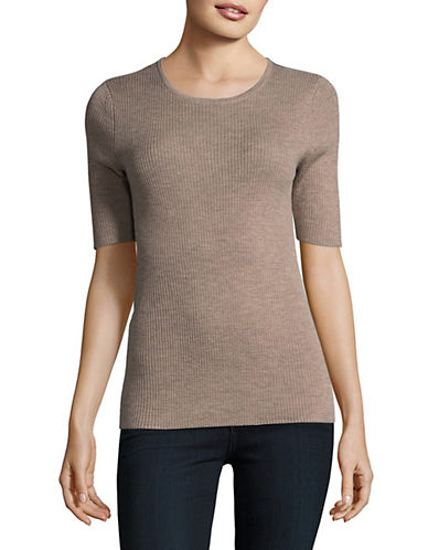 Lord & Taylor Ribbed Merino Wool Top-CASHEW HEATHER-Large