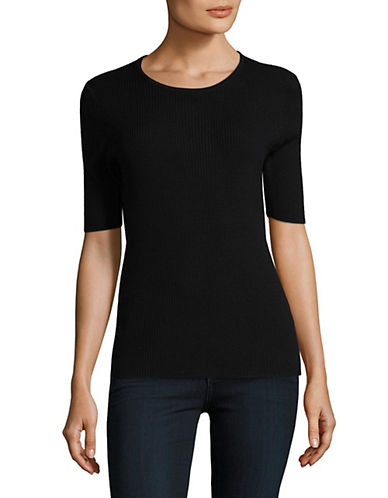 Lord & Taylor Ribbed Merino Wool Top-BLACK-Medium