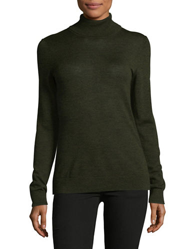 Lord & Taylor Turtleneck Sweater-MOSS HEATHER-Small