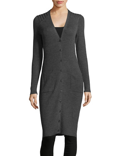Lord & Taylor Ribbed Wool Duster Cardigan-GRAPHITE HEATHER-Medium