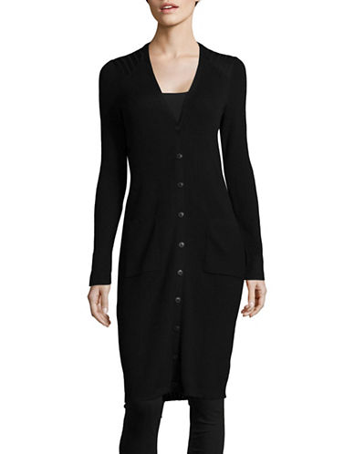 Lord & Taylor Petite Ribbed Wool Duster Cardigan-BLACK-Petite Small