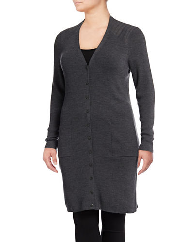 Lord & Taylor Plus Ribbed Wool Duster Cardigan-GRAPHITE HEATHER-0X