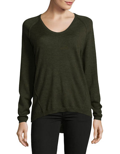 Lord & Taylor Extrafine Merino Wool Pullover-MOSS HEATHER-Small