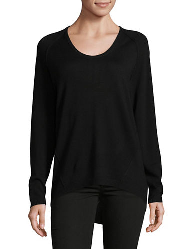 Lord & Taylor Extrafine Merino Wool Pullover-BLACK-X-Large
