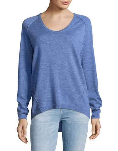 Lord & Taylor Petite Extrafine Merino Wool Pullover-TOPAZ HEATHER-Petite Medium