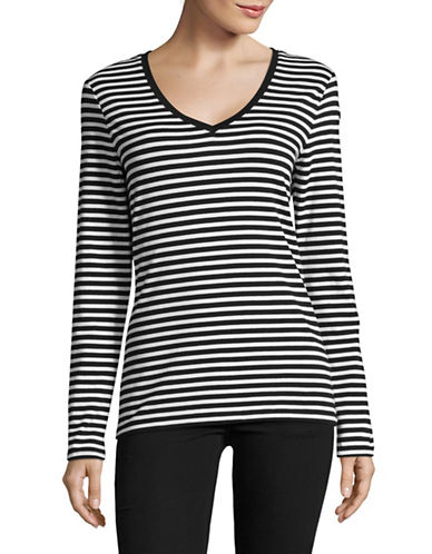 Lord & Taylor Long Sleeve Stripe V-Neck Tee-BLACK MULTI-X-Small