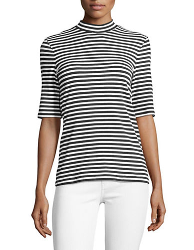 Lord & Taylor Striped Mock Neck Top-BLACK MULTI-Large
