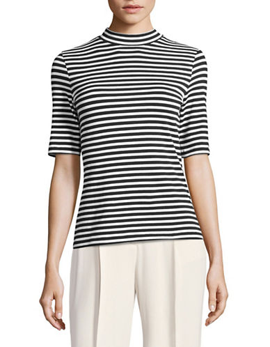 Lord & Taylor Petite Essential Striped Stretch Mock Neck Top-BLACK MULTI-Petite Medium