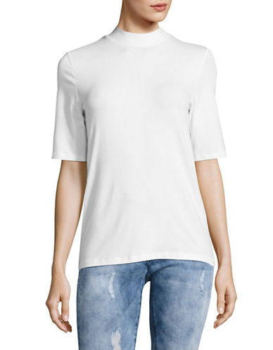 Lord & Taylor Mock Neck T-Shirt-WHITE-Large