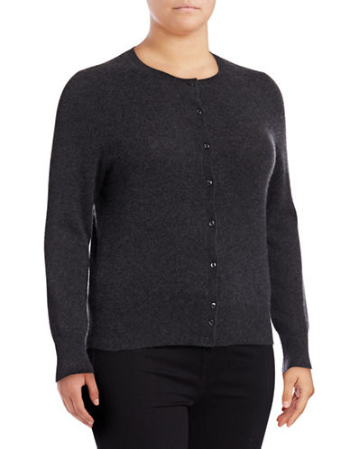Lord & Taylor Plus Cashmere Cardigan-CHARCOAL HEATHER-3X