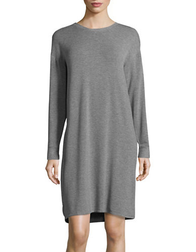 Lord & Taylor Fleece-Back Sleep Shirt-GREY-Small