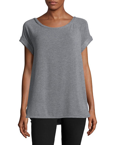 Lord & Taylor Cuffed Boxy T-Shirt-GREY-Large