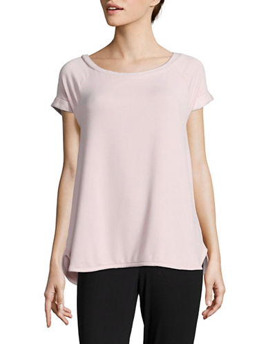 Lord & Taylor Cuffed Boxy T-Shirt-PINK-Small