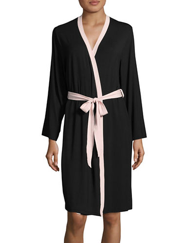 Lord & Taylor Mid-Length Knit Robe-BLACK-Medium
