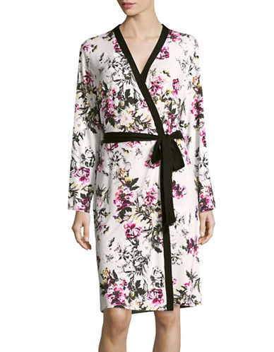Lord & Taylor Mid-Length Knit Robe-FLORAL-Small